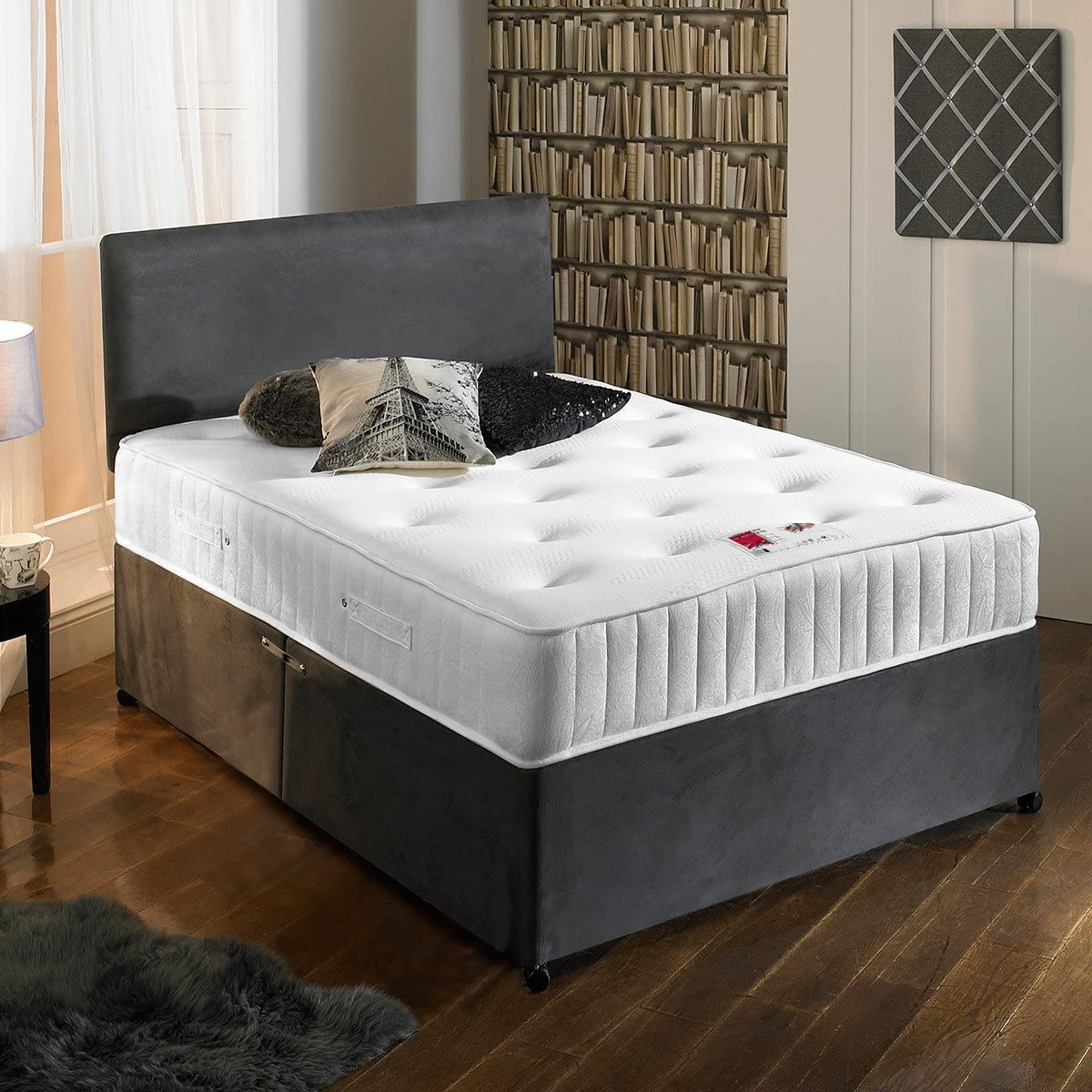 charcoal grey bed